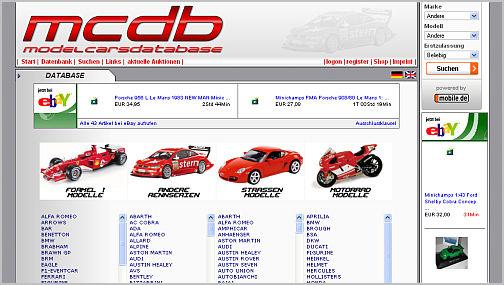 modellauto-datenbank mcdb.biz